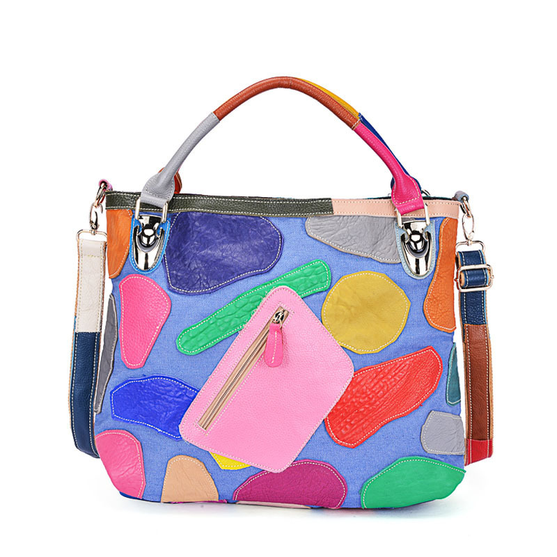 2017 100% Genuine Cow Leather Women handbag Cowhide Multi Totes Casual Colourful Patchwork Woman Cross-body Messenger Bag free shipping cowhide patchwork women s handbag genuine leather one shoulder cross body women s handbag