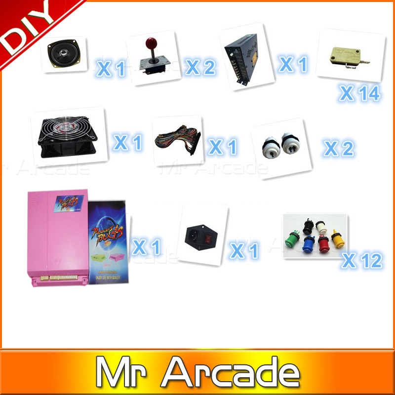 Jamma Arcade kit with original pandora box 4s game 680 in 1 game board ,joystick ,Buttons ,fan, switch,power supply jamma arcade game kits with pandora box 4 645in1 game power supply arcade joystick arcade buttons speaker for arcade game