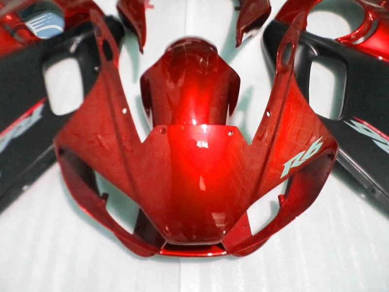 Personnalisé que vous avez besoin kit de carénages de moto pour YAMAHA R6 YZFR6 1998-2002 YZF R6 98-02 carénage de corps de course de sport rouge noir EB65 - 5
