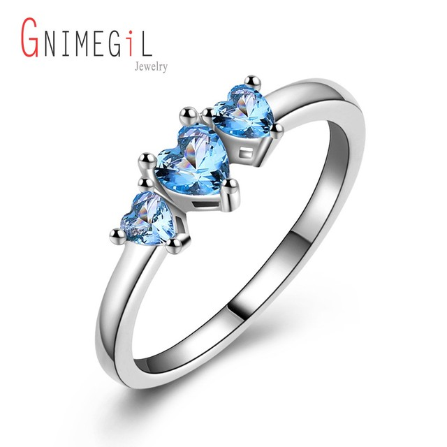 gnimegil fashion light blue love heart aaa stone silver color rings for women beautiful wedding ring - Beautiful Wedding Ring