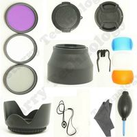 72MM UV+CPL+FLD filter Set + Lens Hood + Cap + Cleaning Kit for Canon Nikon