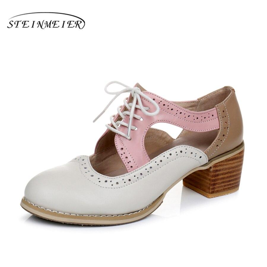Cow leather big woman shoes US size 9 designer vintage High heels round toe handmade beige