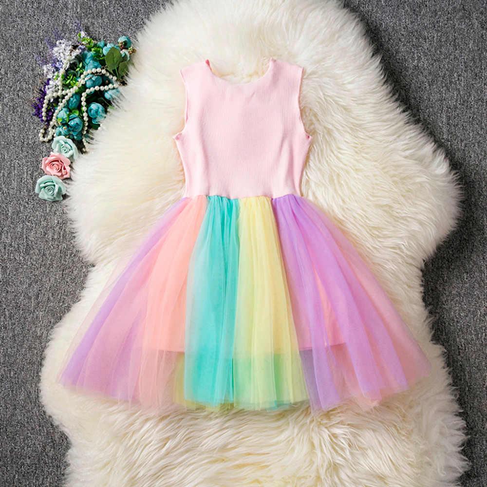MUQGEW/2019 г.; милое летнее платье для девочек; платье без рукавов; милое разноцветное платье с рисунком единорога в стиле пэчворк; одежда принцессы для вечеринок