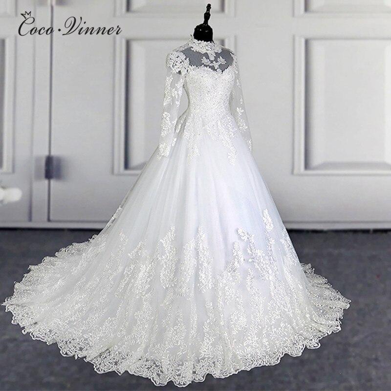 C. V nuevo vestido de boda de encaje de ilusión de cuello alto 201 vestido de fiesta de manga larga Vintage de calidad vestido de novia W0207 - 2
