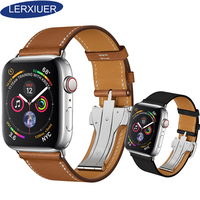 Deployment Buckle Strap For Apple Watch 4 Iwatch band 44mm 40mm Genuine Leather Single Tour Bracelet wrist watchband Accessories