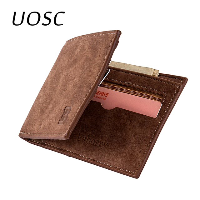 81bc0caa100280 UOSC Coin Bag Zipper 2018 New Men Short Wallets Small Money Purses Wallets  Card Holder Dollar Price Top Slim Men Wallet For Male