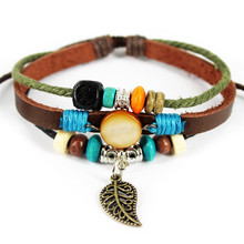 Handmade Weave Multilayers Leather Leaf Adjustable Wooden Beads Men Bracelets Jewelry For Women B23