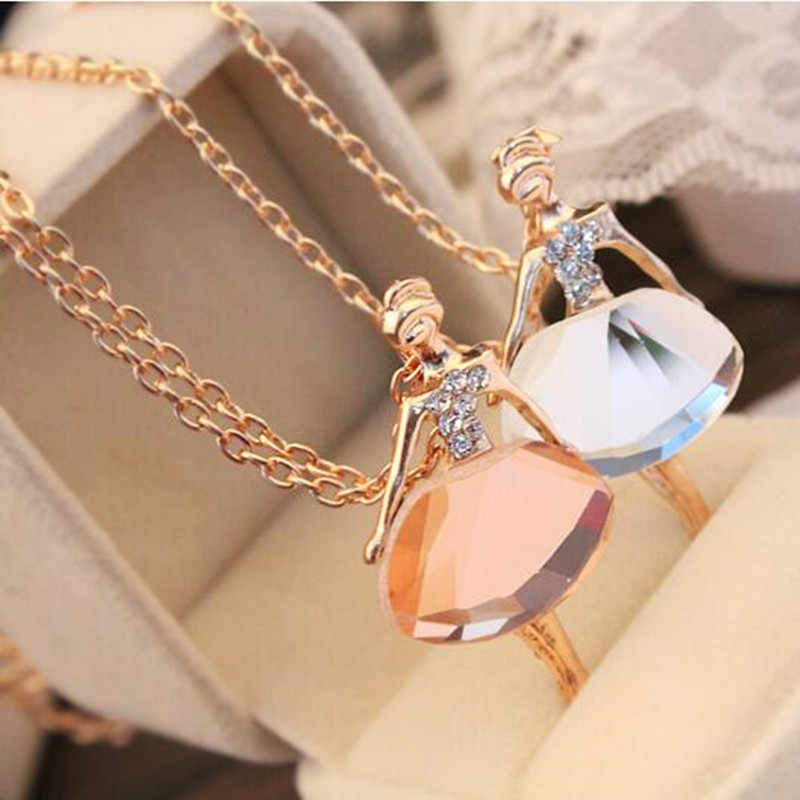 2018 Gold/Silver Chain Shiny Crystal Ballerina Girl Pendant Necklace Statement Long Necklace Jewelry Female Long Necklace women