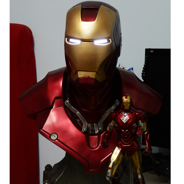 1:1 Scale Iron Man Sideshow MK3 Tony Strak (LIFE SIZE) BIG Statue Resin BUST With Led Eye 61cm H