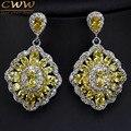 11 Opções de Cores Das Mulheres Do Vintage Jóias Banhado A Prata Cristal Amarelo Dangle Gota Brincos Com Cubic Zirconia Pavimentada CZ339