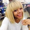 Природные дешевые волосы парик Парик синтетические женщины короткие блондинка высокое качество термостойкие фигурные Парики С Челкой На Складе