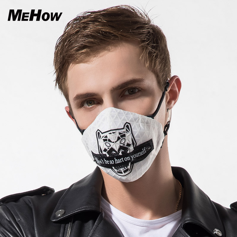 MeHow Men Embroidery Leopard Pattern Silicone Rubber Mouth Mask PM2.5 Anti Haze mouth Dust Mask Nose Filter Sport mask Halloween 50pcs high quality dust fog haze oversized breathing valve loop tape anti dust face surgical masks