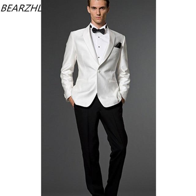 dfeb74fa8c431 Mens traje formal slim fit por encargo trajes esmoquin desgaste novio  blanco 2016 blanco chaqueta y
