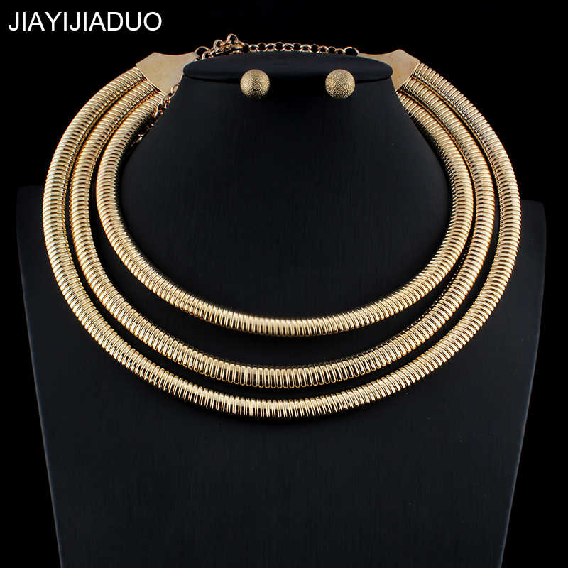 jiayijiaduo New Nigerian Jewellery Set For Noble Women Wedding Jewelry Set Gold Silver Color Necklace Earrings dropshipping