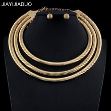 jiayijiaduo New Nigerian Jewellery Set For Noble Women Wedding Jewelry Set Gold Silver Color Necklace Earrings dropshipping(China)