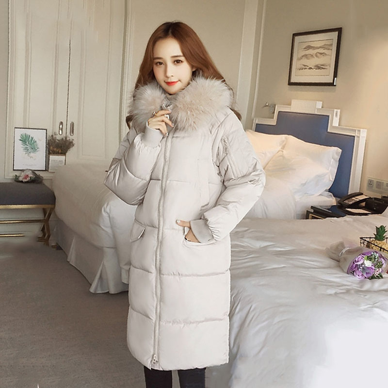 High Quality 2019 New Winter Jacket Women With Thicken Fur Hooded Warm Outwear Coats Padded Snow Wear Long Womens   Parkas   YH337