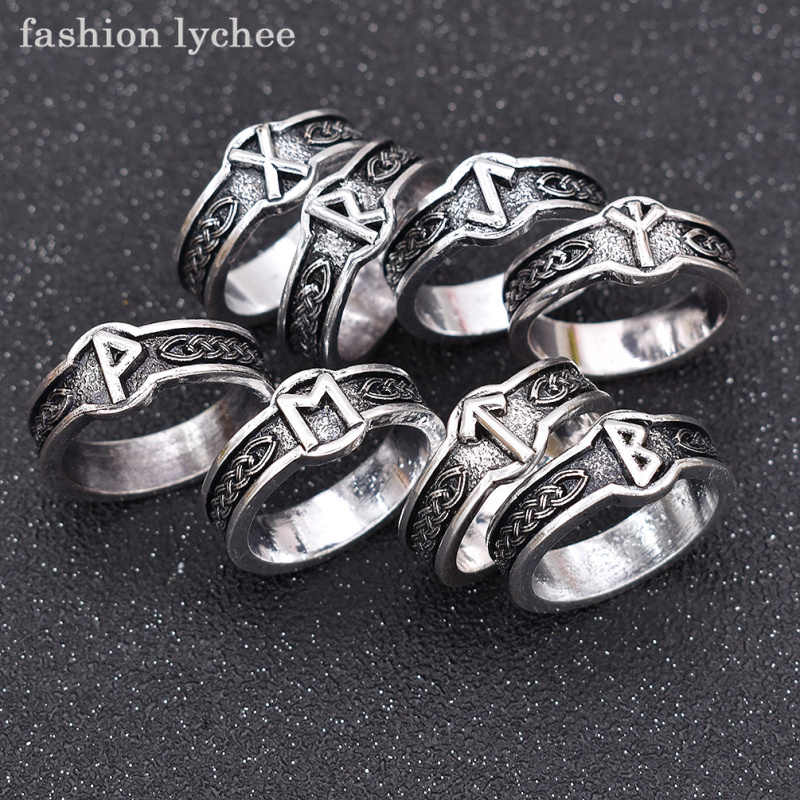 fashion lychee Vintage Viking Norse Runes Runic Finger Ring Men Gothic Antique Punk Rock Rings Fashion Jewelry