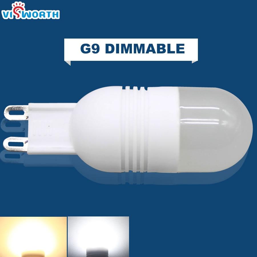Dimmable G9 Led Bulbs Mini Ceramic Body High Power Cob 3W 1pcs Leds SpotLight AC 110V 220V 240V Warm Cold White Led Light