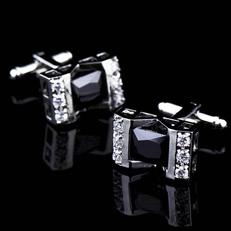 Wedding Party Business Franse Shirts Manchetknopen Zwart Wit Crystal Zircon Hollow Out Manchetknopen Zilveren Manchetknopen Met Gift Bag