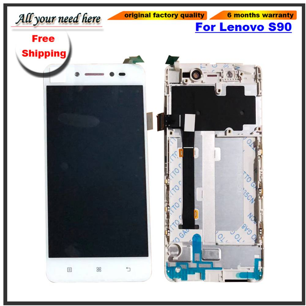 5 inch Original For Lenovo S90 LCD Display Touch Screen Digitizer Assembly With Frame S90-T S90-U S90-A Free shipping