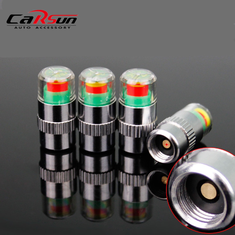 4 Pcs 2.0bar 30Psi Tire Pressure New Car Tyre Monitor Indicator Valve Stem Cap Sensor 3 Color Eye Alert C5CX027