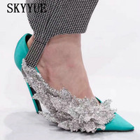 2018 New Satin Pink/black/Green Pointed Toe Crystal Beading Women Pumps Sexy Slip On Women HIgh Heel Sandals Shoes Women