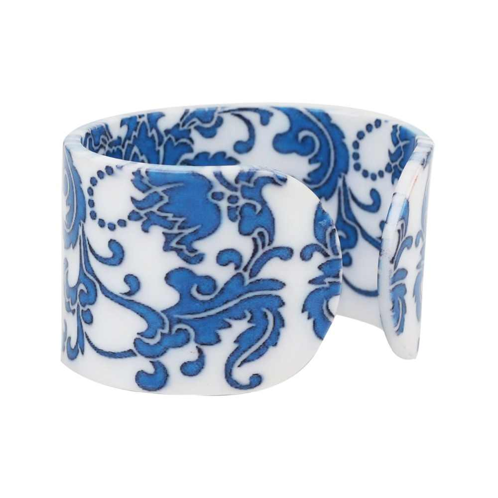 Bonsny Plastic Chinese Blue And White Porcelain Pattern Bangles Bracelets Fashion Ethnic Jewelry For Women Girl Ladies Gift Bulk