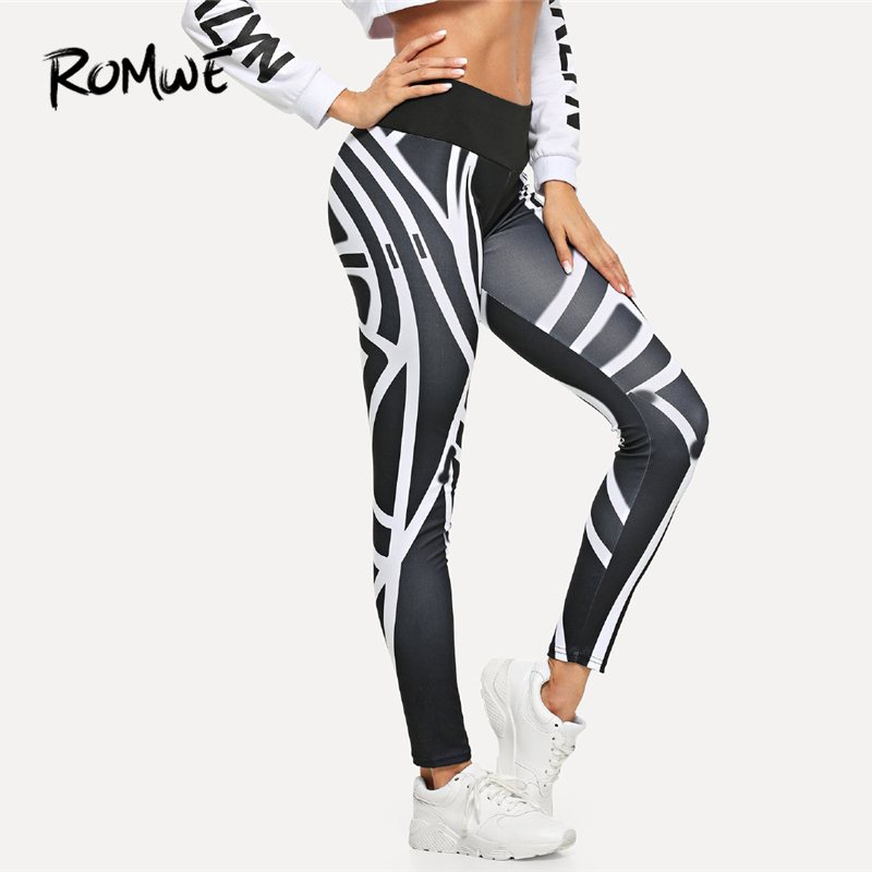 ROMWE Side Striped Casual Graphic Print Skinny   Leggings   Brief Basic Fitness Winter Pants 2019 Fashion New Workout Slim   Leggings