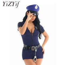 Kobiety policjant jednolite przebranie na karnawał krótkie rękawy dekolt w szpic wbudowane spodenki sukienka z kajdankami pas kapelusz Sexy kostiumy