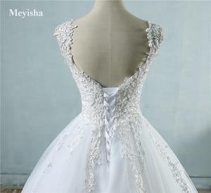 Image 4 - Vestido de baile para noivas, vestido de casamento elegante, branco marfim, com borda no pescoço, tamanhos grandes zj9076 2019 2020