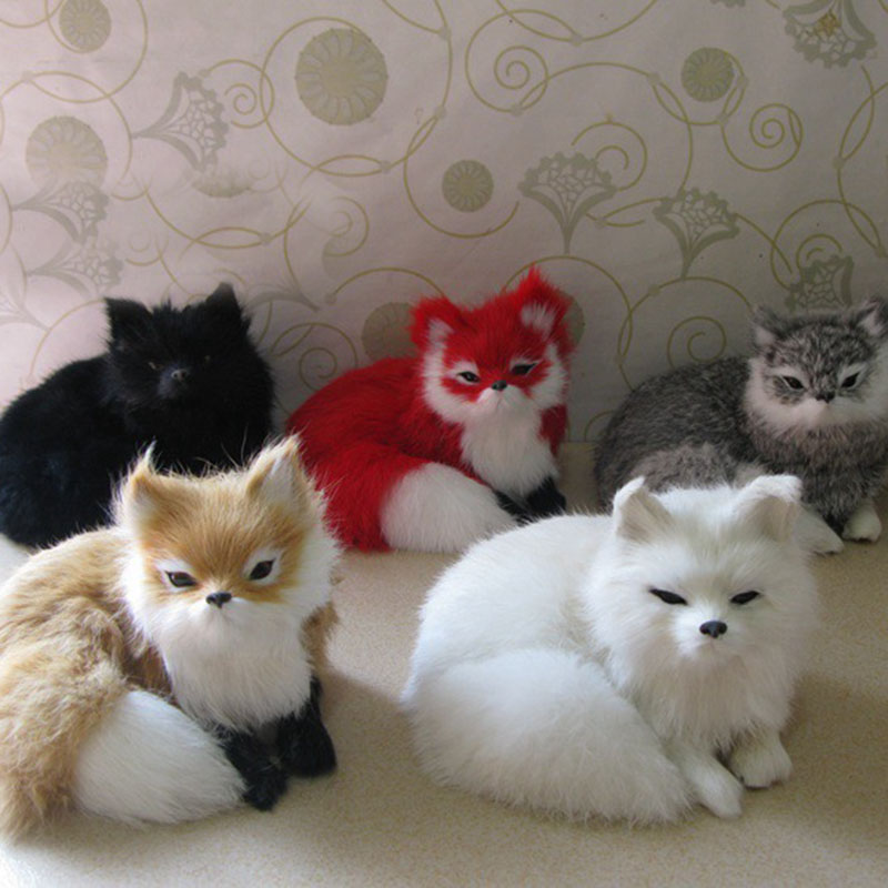 5 pieces a lot new simulation fox toys Polyethylene&fur lucky fox models gift about 16x11.5x13cm