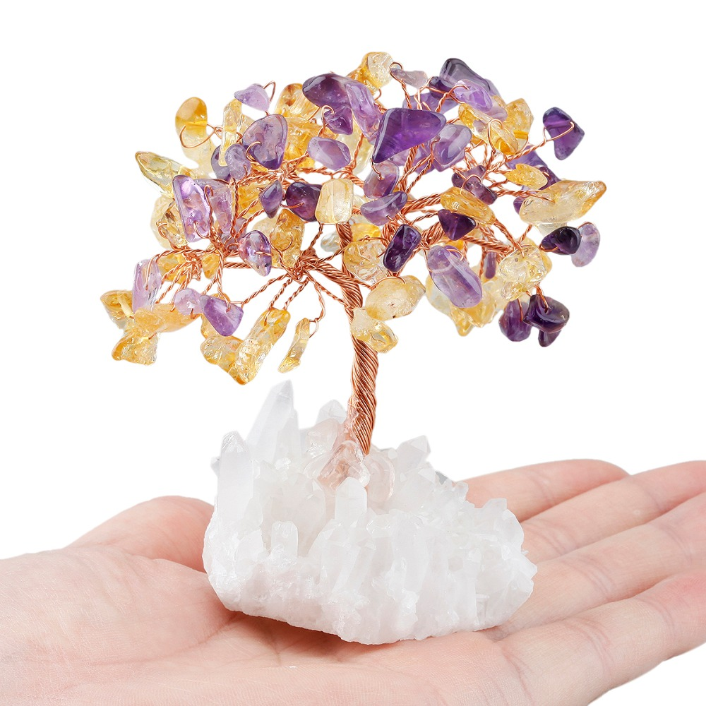 TUMBEELLUWA Crystal Tree Natural Rock Quartz Cluster Base Bonsai Lucky Money Tree Sculpture Decoration