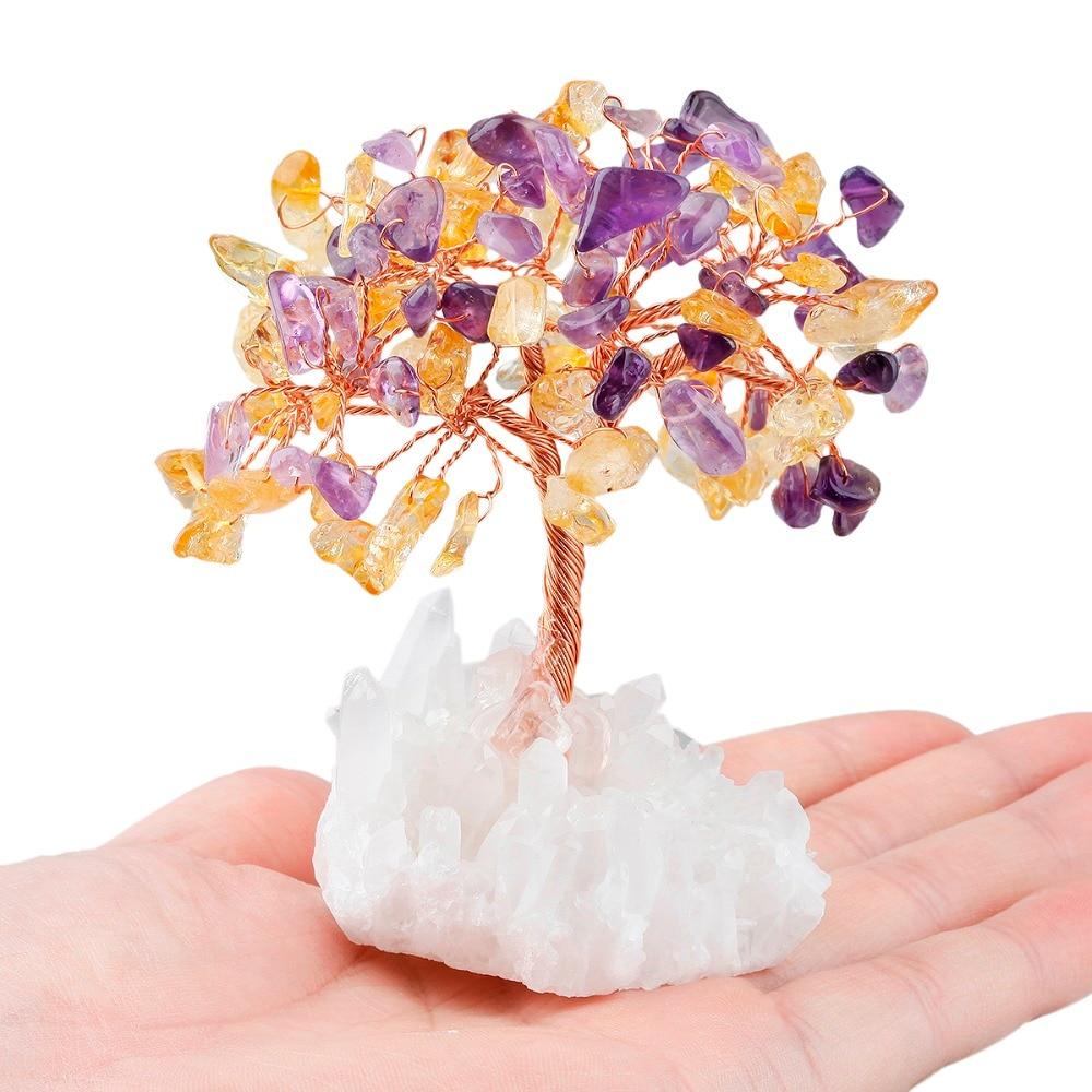 TUMBEELLUWA Crystal Tree Natural Rock Quartz Cluster Base Bonsai Lucky Money Tree Sculpture Decoration