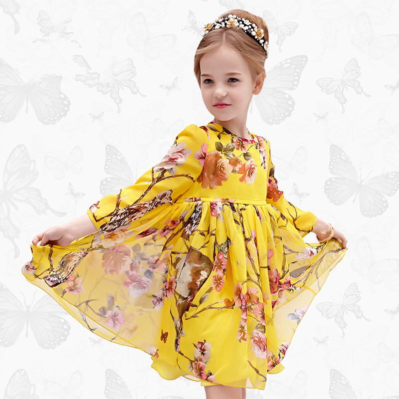 W.L.Monsoon Children's wear Girls dress Summer dress New Long sleeve chiffon children's dress Princess dress все цены