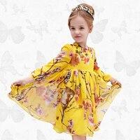 W.L.Monsoon Children's wear Girls dress Summer dress New Long sleeve chiffon children's dress Princess dress