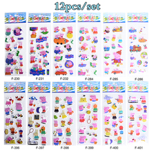 12pc Sheets/Set Kids Mini 3D Pink Pig Stickers Home Wall Decor on Laptop Animal Sticker Decal Fridge Doodle Toys Xmas Gifts