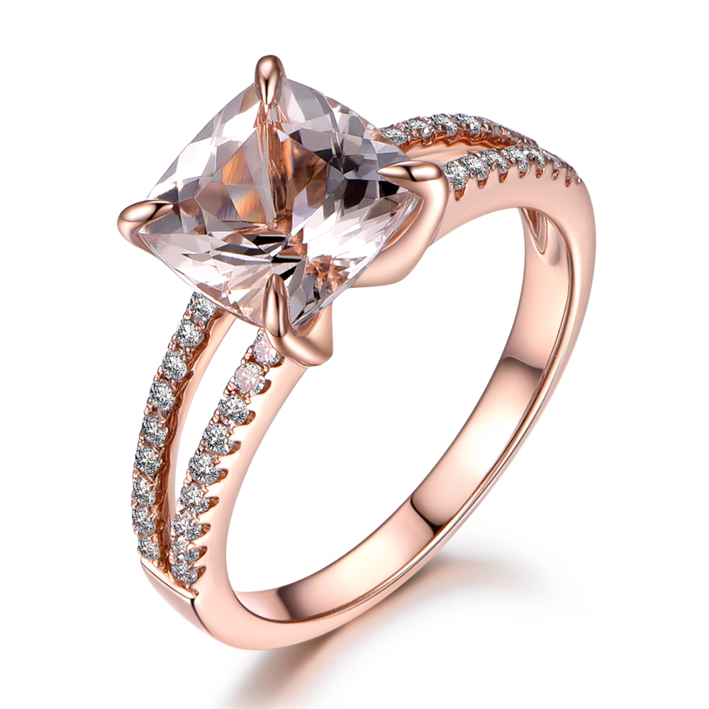Myray 8x8mm Cushion Natural Pink Morganite 14k Rose Gold Claw Diamond  Antique Vintage Engagement Women Ring Gemstone Rings Band