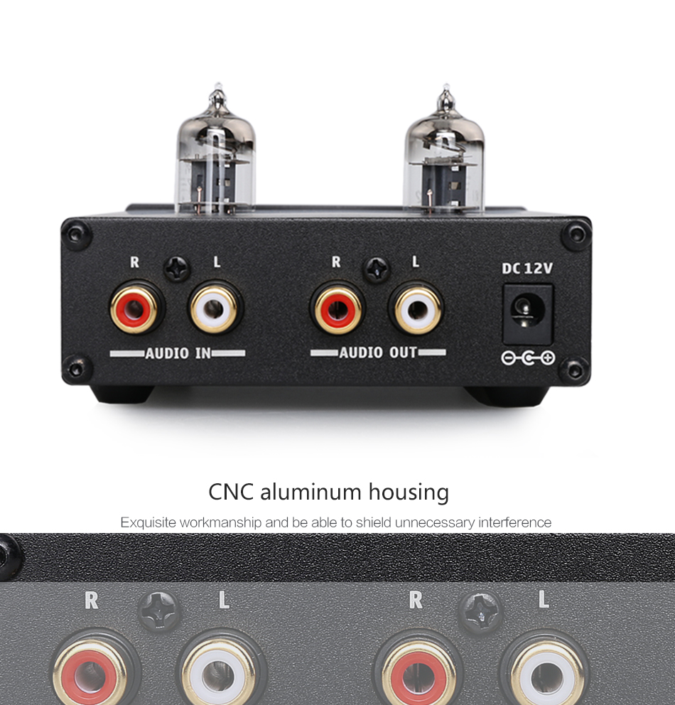 KGUSS T3 MINI Bile 6J1 Preamp Tube Amplifier Buffer HIFI Audio Preamplifier  Treble Bass Adjustment Pre-amps DC12V