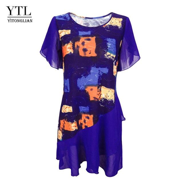 נשים חולצות וחולצות עניבה לצבוע בוהמי הדפסת שכבות שיפון נשי חולצות קיץ קצר שרוול טוניקת H227