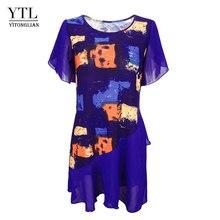 Damskie popy i bluzki Tie Dye artystyczny nadruk warstwowe szyfonowe kobiece bluzki letnia tunika z krótkim rękawem H227