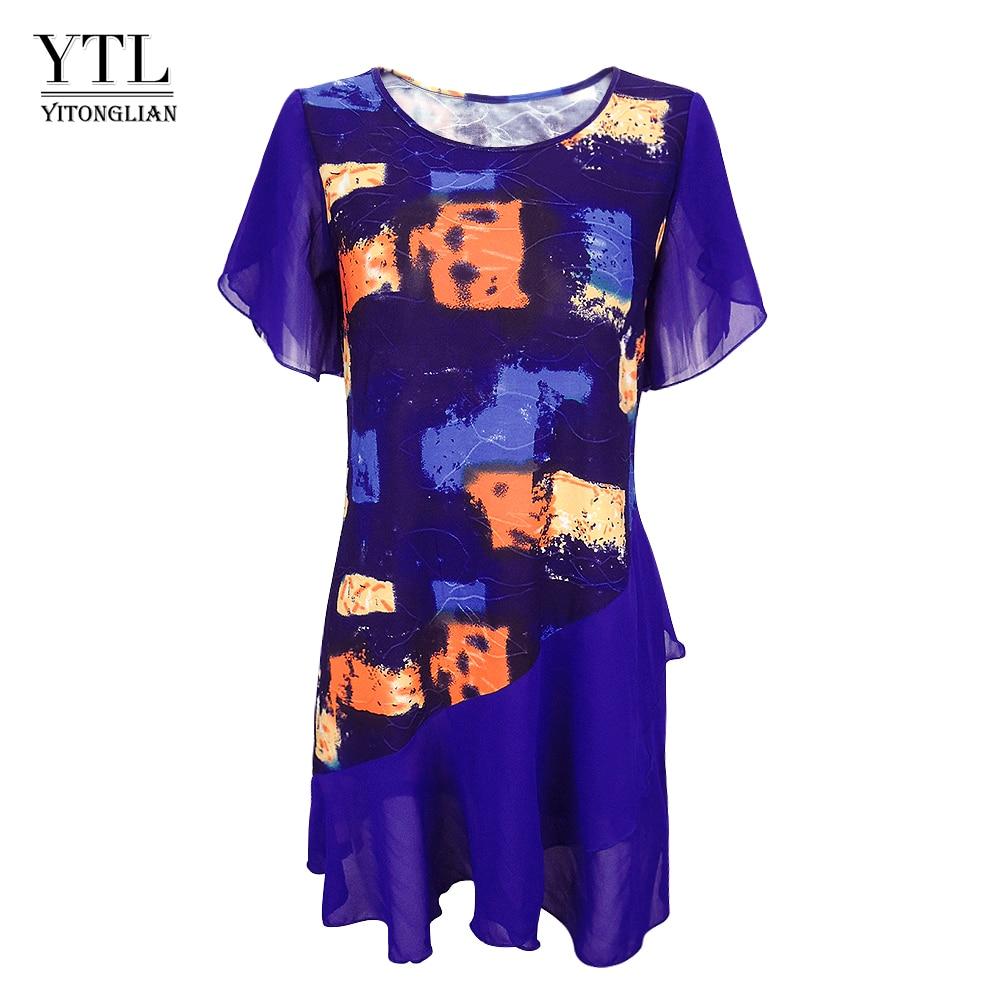 Womens Tops and Blouses Tie Dye Bohemian Print Layered Chiffon Feminine Blouses Summer Short Sleeve Tunic H227Blouses & Shirts   -