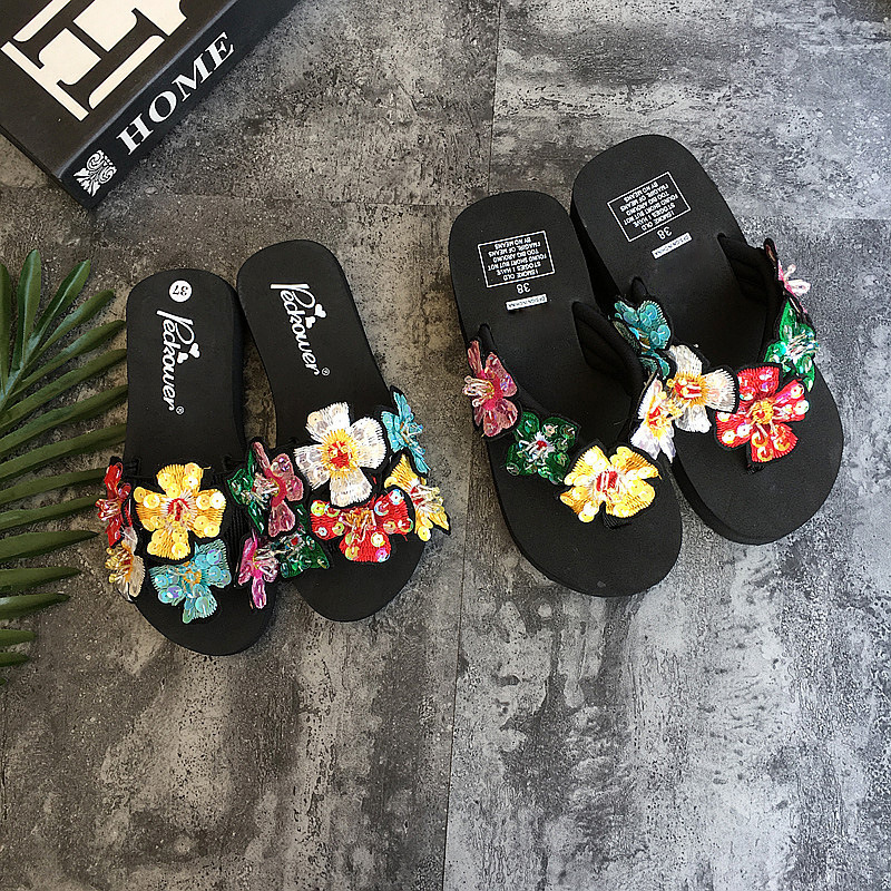 2018 New Fashion Summer Bling Flower Slippers Women Flip Flops Beach Sandals Ladies Female Outside Handmade Casual Wedge Shoes luxury fashion women bling crystal diamond rhinestone shiny glitter slippers casual shoes handmade flip flops sandals wedges