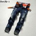 Beswlz Hombres Denim Jeans Medio cintura Rayado Vaqueros Masculinos Delgados Rectos Pantalones Estilo Casual de Negocios de Los Hombres Pantalones Vaqueros Del Agujero Azul 9511