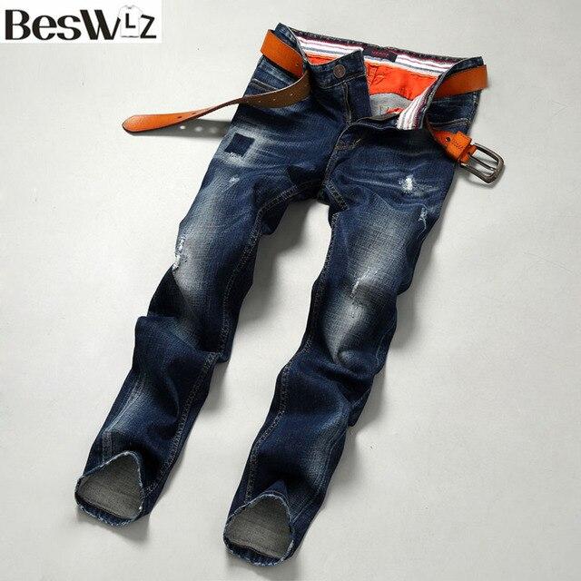 59a4d1265d Beswlz Hombres Denim Jeans Medio cintura Rayado Vaqueros Masculinos  Delgados Rectos Pantalones Estilo Casual de Negocios