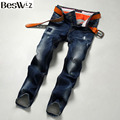 Beswlz Men Denim Jeans Mid-waist Straight Slim Male Scratched Jeans Pants Casual Business Style Men Blue Hole Jeans 9511