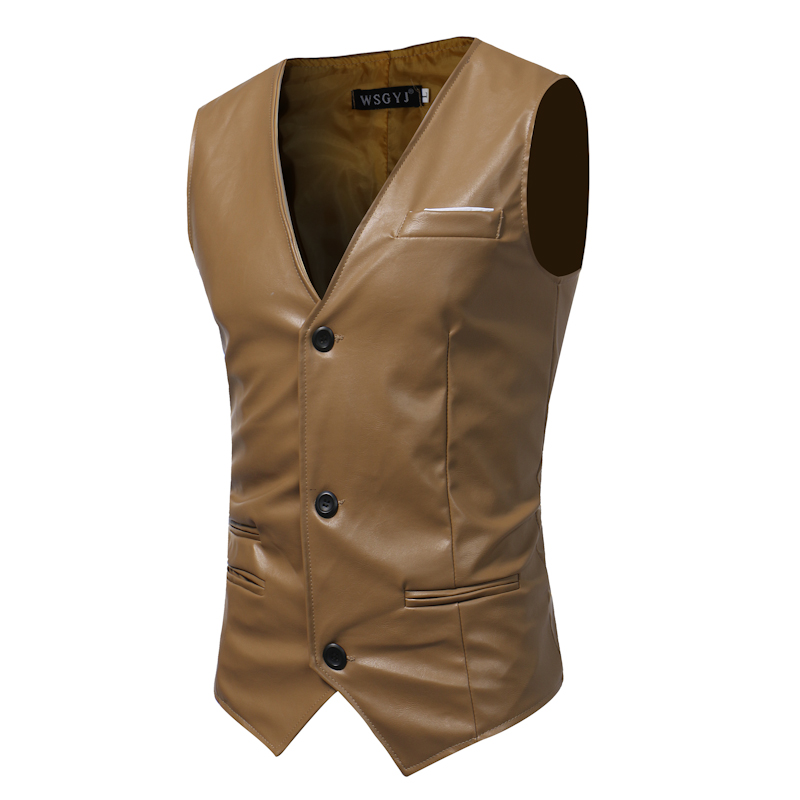Men's Casual Slim PU Leather Vest Tops Sleeveless Waistcoats Business Casual Short