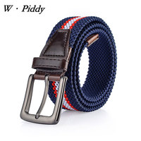 W PIDDY Mens Elastic Stretch Belt Waistband Knitted Men Belt Casual Alloy Cross Buckle High Quality