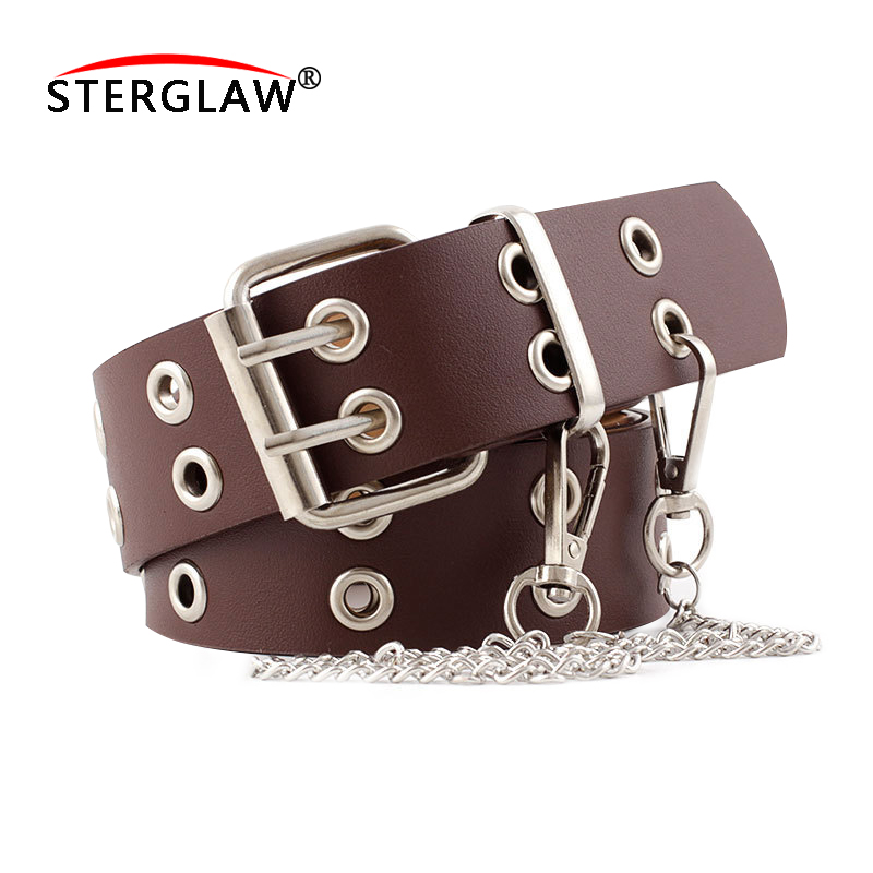 105*3.8cm NEW Women Punk Chain Fashion Belt Adjustable Black Double Eyelet Grommet Leather Buckle Belt For Women Belts N214