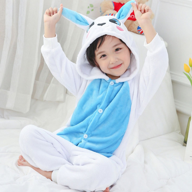 Kigurumi Onesie Kids Animals Panda Pajamas Cartoon Bat Sleepers For Boys Girls Winter Jumpsuits Children Flannel Pyjama Blanket