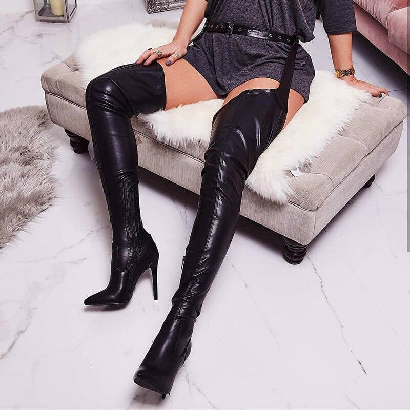 Pour Talons Rihanna Noir Sur Chaussures Bottes Prova Haute Femmes Pointu Le Perfetto Style Bout Hauts Genou Sexy TwzgqOxUIn